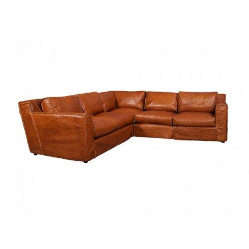 Vintage-Line Ecksofa Leder Redhill 5-Sitzer Columbia Brown Sofa Sitzecke Brasilianisches Rindsleder Echtleder