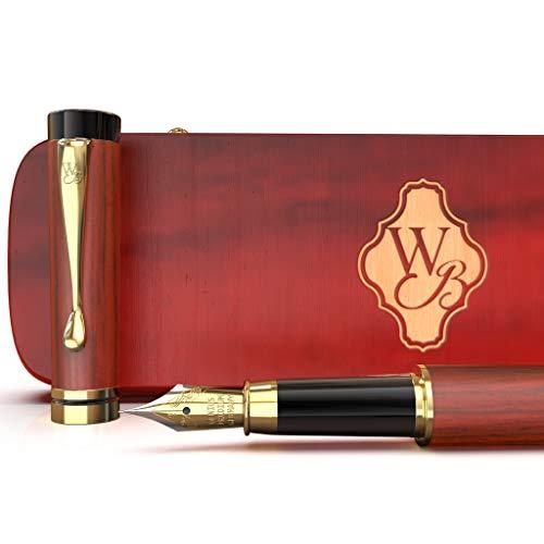 Estuche de regalo de pluma de fuente de bambú de madera de lujo de Wordsworth & Black Convertidor de pluma de caligrafía recargable - Tinta suave Flujo de pluma para escritura de precisión
