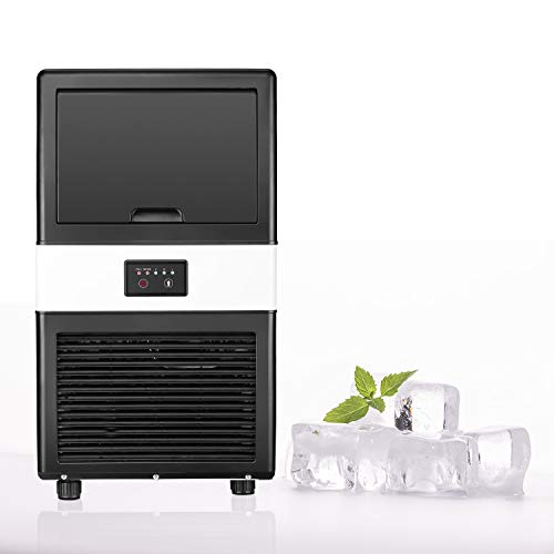 Commercial Ice Maker Machine with 8L Bin, Stainless Steel, 40lbs/24h, for Home, Office, Restaurant, Bar, Coffee Shop