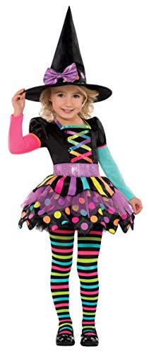 Amscan 996995 - Kinderkostüm Bunte Hexe, Kleid, Hexenhut, Strumpfhose, Witch, Zauberer, Mottoparty, Karneval, Halloween