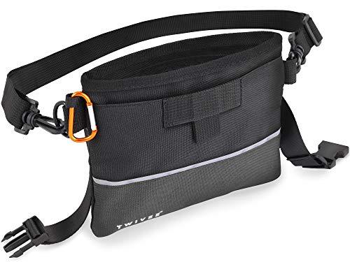 TWIVEE – Futterbeutel für Hunde – Leckerlie Beutel mit Einhand-Schnappverschluss – herausnehmbare Innentasche – Futtertasche für Hundetraining – inklusive Karabiner