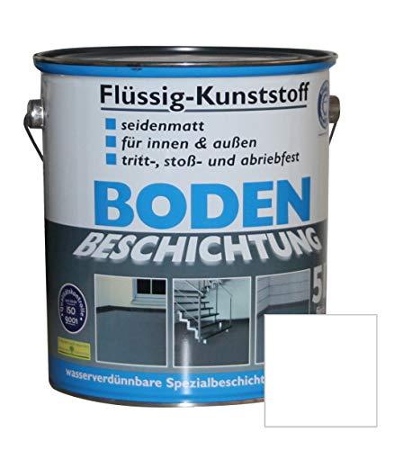 Flüssig Kunststoff 5L Bodenbeschichtung 50m² Betonfarbe Beton Beschichtung (Reinweiß)