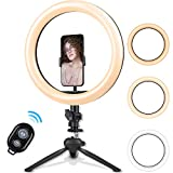 10.2 Inch Ring Light with Stand - Rovtop LED Camera Selfie Light Ring with iPhone Tripod and Phone Holder for Video Photography Makeup Live Streaming