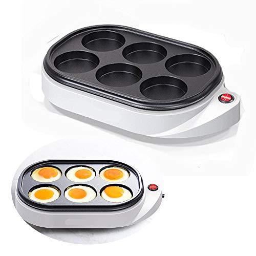 6 Löcher elektrische Eierkocher gedämpfte Eier, Stecker und Gebrauch, elektrische Omeletteier-Kuchen-Kuchen-Hersteller-Antihaft-Frühstücks-Backen-Bratpfannen-Maschine, 220V 50 / 60Hz 650W
