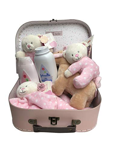 Bear Soft Rattle, Comforter, Plush, Toiletries Newborn Baby Gift Hamper Carry Case Suitcase Set - Pink - 25 x 19 x 8cm