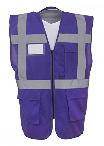 Farbige Warnweste, hohe Sichtbarkeit, Reißverschluss mit Taschen – 18 Farben (Large, Violett)