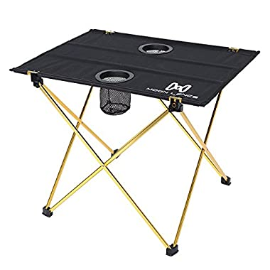 Moon Lence Ultralight Folding Camping Picnic Roll Up Table with Carrying Bag (new gold)
