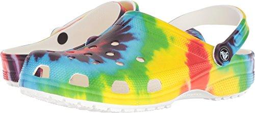 Crocs unisex adult Classic Tie Dye   Comfortable Slip on Water Shoes Clog, Multi, 8 Women 6 Men US