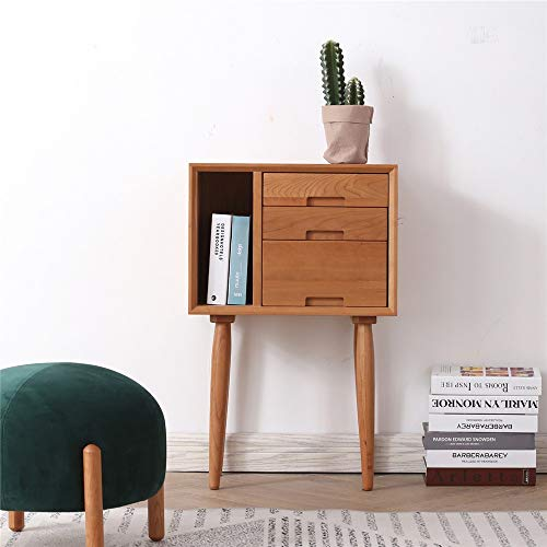Best Buy! HANXIAODONG Bedside Table Nightstand for Bedroom Bedside Table Nightstand End Table with 3 Storage Drawer Solid Wood Table for Bedroom Bedroom Furniture (Color : Natural, Size : 50x28x80CM)