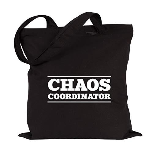 JUNIWORDS Jutebeutel, Wähle ein Motiv & Farbe, Chaos Coordinator (Beutel: Schwarz, Text: Weiß)