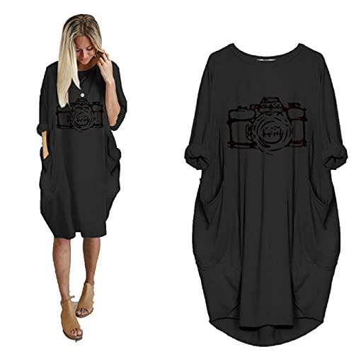 QINGYE Vestido casual de manga larga con bolsillo suelto para mujer, talla grande, estampado de cámara y cámara de gran tamaño hasta la rodilla, 19 colores