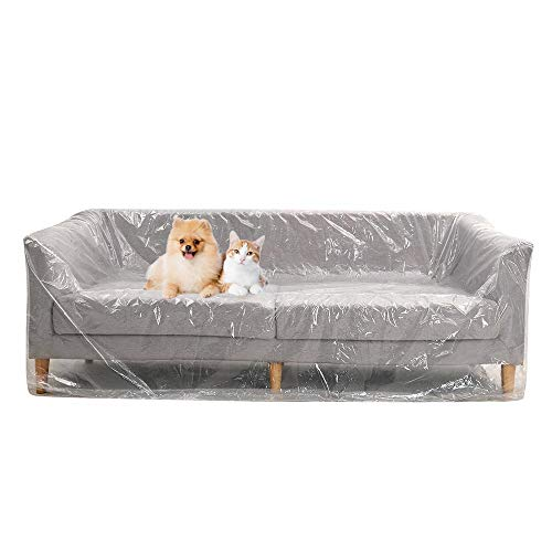 DECARETA Plastic Sofa Cover,Large Sofa Storage Cover,Plastic Sofa Dust Covers,Sofa Protector Bags Plastic Couch Covers,Painters Drop Cloth for Protection,Plastic Sofa Covers for Bed,Sofa,Couch,Ground