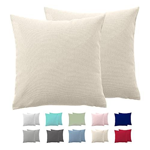 Comfy Wings Juego de 2 fundas de almohada de algodón de 60 x 60 cm, 100% algodón de punto de jersey, almohadas de cama, almohadas supersuaves, color beige