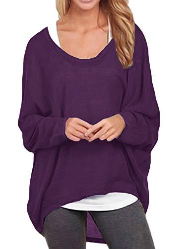 ZANZEA Damen Lose Asymmetrisch Jumper Sweatshirt Pullover Bluse Oberteile Oversize Tops Lila EU 42-44/Etikettgröße L