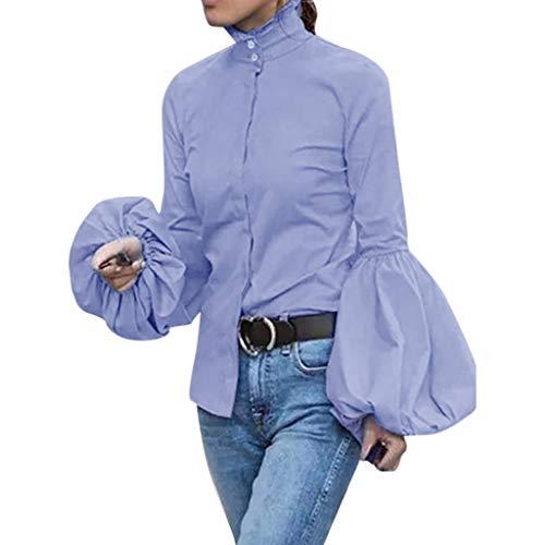 Komise Fashion Damen Casual Volle Ärmel Laterne Ärmel Hoher Kragen Solide Enge Bluse