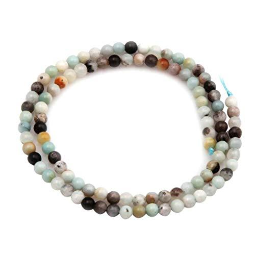 OMMO LEBEINDR Naturstein-Korn-rundes Loses Korn für die Schmucksachen, die DIY Armband-Halskette 38cm Multicolor 1Setfor Convenience