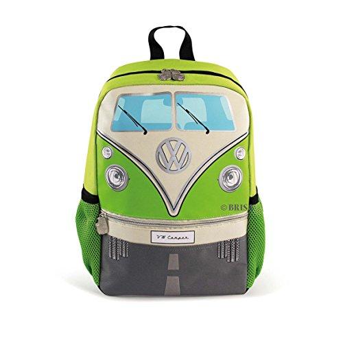 BRISA VW Collection - Stylisher & lässiger Volkswagen Kinder-Rucksack, Tages-Wander-Rucksack VW T1 Bulli Bus Front (15l/Klein/Grün)