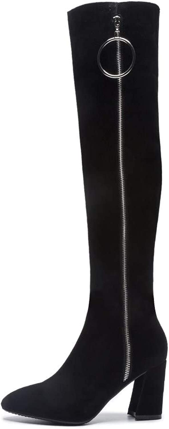 Nine Seven Women's Suede Leather Pointed Toe Chunky Heel Handmade Side Zippers Comfort Over The Knee Boots