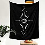 QAWD Tapiz de brujería Sagrada árbol Mandala Fondo de Mano Espiritual Manta de Tela Sol Luna psicodélico Colgante de Pared A2 130x150cm