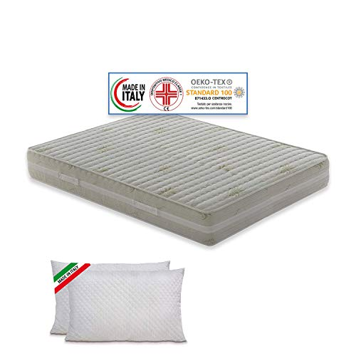 Materassimemory.eu – Materasso Matrimoniale Top Air 180x200 Alto 25 cm Detraibile con 7 zone differenziate Rivestimento Aloe Vera cuscini in omaggio traspirante anti acaro made in Italy