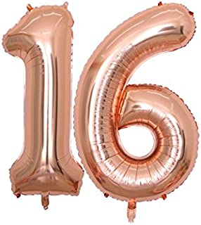BALONAR 40 inch Jumbo 16th Rose Gold Foil Balloons for Birthday Party Supplies,Anniversary Events Decorations and Graduation Decorations (ROSE16) (ROSE16)
