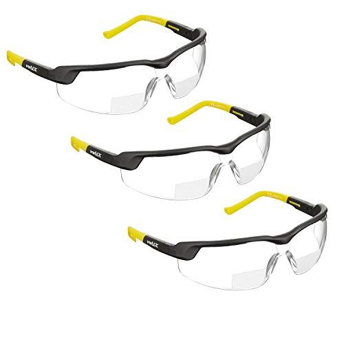 3 x voltX GT Adjustable (2020 Model) Bifokale Lesen Schutzbrille (KLAR +1.0 Dioptrie), CE EN166FT Zertifiziert, Anti-Beschlag Beschichtung, anpassbarer Bügel, Kratzfest, UV400 Schutz.