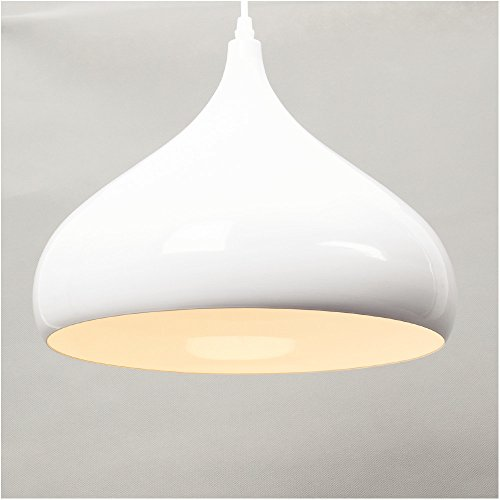 E27 Industrial colgante Lámpara colgante, Las luces del techo, Iluminación interior, Luz blanca cálida, 60W Cortinas de la lámpara Retro lámpara de techo,Colgante de metal (Blanco)