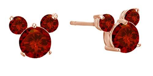 Plata de Ley 925Forma Redonda simulado granate CZ Mickey Mouse Stud Pendientes para las mujeres y las niñas (18ct Rose Oro Sobre Plata De Ley)