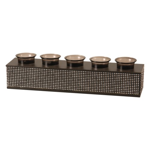 Wilco Imports Black Metal and Rhinestone Centerpiece Five Votive Candle Holder 15-3/4-Inch by 3-1/2-Inch by 4-Inch