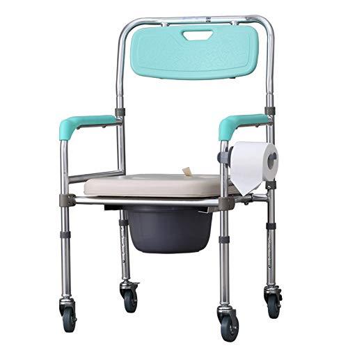 wwl Toilettenstuhl Medical Fahrbar Toilettenrollstuhl Duschhocker Duschstuhl Rollen 360°C Drehbar Ergonomische RüCkenlehne FüR äLtere Menschen Mit Behinderungen