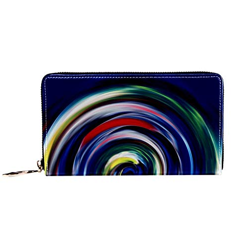 XCNGG Women's Zip Around Wallet and Phone Clutch,Travel Purse Leather Clutch Bag Card Holder Organizer Wristlets Wallets,Colorful Swirls