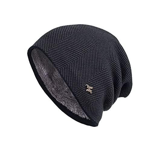 Uniqueheart Sombreros de Punto elásticos para Hombres y Mujeres más Orejeras de Terciopelo a Prueba de Viento Gorros de Lana cálidos Gorros de Jersey neutros - Gris