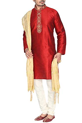 Krishna Sarees Sonisha MKP9010 Rot und Gold Herren Kurta Pyjama Indian Suit Bollywood Sherwani (Chest 44 Inches)