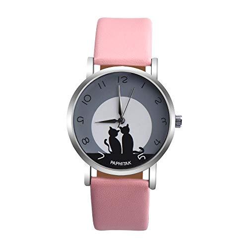 SYWY Moda Encantadora Gato patrón Casual Cuero Banda Relojes Mujeres Relojes de Pulsera Reloj Reloj relogio Feminino (Color : D)