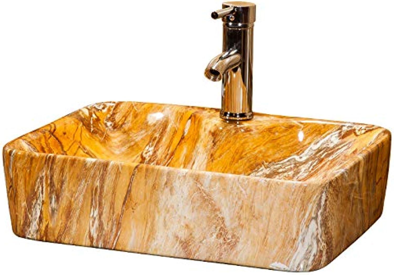MICOKY Aufsatzbecken gelbe Keramik Küche Balkon Kunst Toilette Hotel Bad Waschbecken mit Wasserhahn 48  38  14