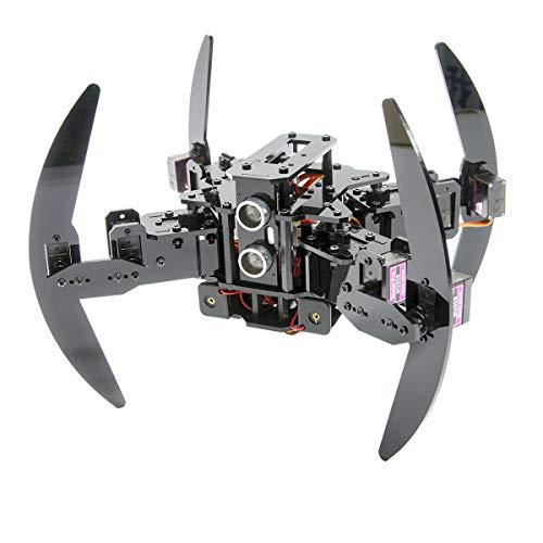 Adeept Kit Robot quadruplo Compatibile con Telecomando a infrarossi Arduino e App Python, Spider Walking Robot strisciante, Auto-stabilizzante basato sul sensore giroscopio MPU6050, Kit Robot Steam