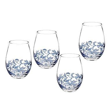 Portmeirion Spode Stemless Glasses Blue Italian Glasses, Set of 4 (1624917)