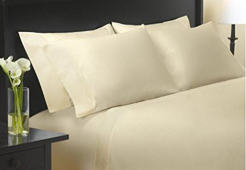 Charisma Queen Size 400 Thread Count Sateen Sheet Set 100% Egyptian Cotton - Ivory