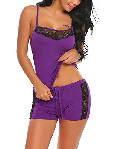 ADOME Damen Schlafanzug Nachthemd Sommer Kurz Pyjama Shorty Spitzen Nachtwäsche Negligee Set mit Verstellbaren Trägern, A-lila, S