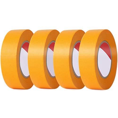 LEOBRO マスキングテープ 18mm×20m【4巻セット】 塗装用 自動車 車両用 黄色 剥がしやすい 養生用 仮止めテープ ホビー プラモデル塗装に