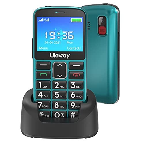 Uleway Seniorenhandy mit großen Tasten & Mobiltelefon ohne Vertrag,2,3 Zoll LCD|Hörgeräte kompatibel|SOS-Funktion |Dual SIM Handy |Taschenlampe & Ladestation