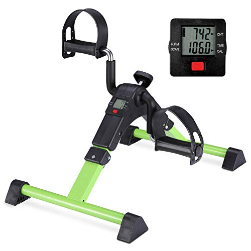 Stationary Cycle Pedal Exerciser Desk Exercise Bike with LCD Monitor Foldable (black/green)