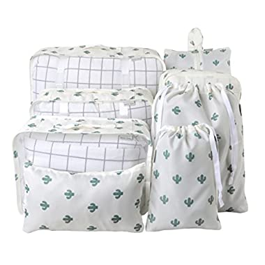 8 Set Packing Organizer,Waterproof Mesh Travel Luggage Packing Cubes with Laundry Bag Shoes Bag Cactus Pattern