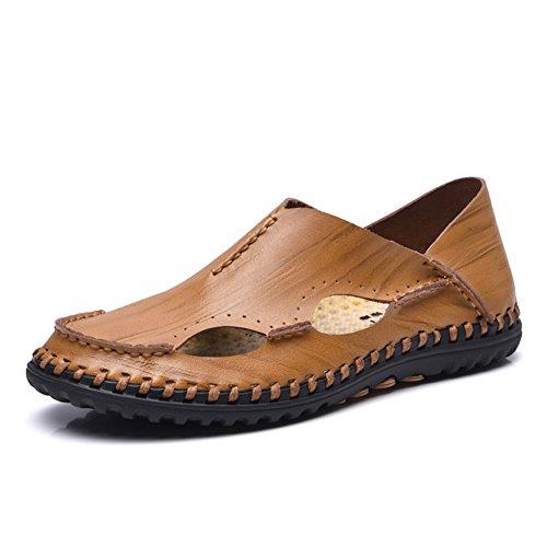ailishabroy Herren Sommer Breathable Schuhe aus echtem Leder Slip On Sandalen für den Mann (43, Khaki)