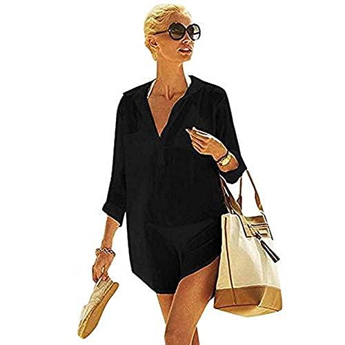 TBSCWYF Vestido Suelto de Bikini Mujer Ropa de Baño Playa Traje de Baño Vestido de Playa Blusas Chales Bikini Camisolas Verano Blusa de Playa con Abrigo de Color Liso (Negro)