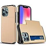 RZL Teléfono móvil Fundas para iPhone 13 Pro MAX, Armor Sliques Tarjeta Tarjeta de Caja Tapa de teléfono para iPhone 13Pro MAX 5G 6.7'2021 (Color : Oro, Material : iPhone 13Pro MAX 6.7)