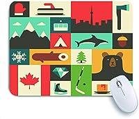 ECOMAOMI 可愛いマウスパッド カナダフラットミトンランドスケープアックスマウンテンキャンプフィッシュウィンターウッドフォレストベアツリーホッケーダイヤモンドフラッグ 滑り止めゴムバッキングマウスパッド