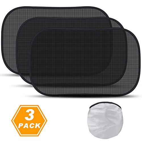 Benewell Auto Sonnenschutz Sonnenblenden für Baby,Kinder mit UV Schutz,51 * 31 cm,3 Pack für Seitenscheiben/Autofenster (schwarz)