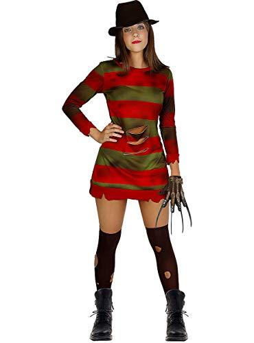 Funidelia | Disfraz de Freddy Krueger - Pesadilla en ELM Street Oficial para Mujer Talla L ▶ Freddy, Películas de Miedo, Pesadilla en ELM Street, Terror - Color: Rojo - Licencia: 100% Oficial