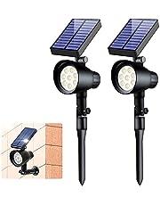 Solar Lights Outdoor - Ubitree Solar Powered Lights 8LEDs Wireless 600lumens 2 in 1 Waterdichte Solar Schijnwerpers Voor Pathway, Walkway, Patio, Yard, Garden and Landscape (2-pack)